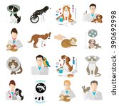 veterinary icon flat set.  vet... | Shutterstock .eps vector #390692998
