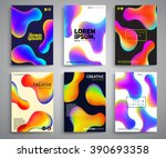 Abstract fluid colors poster set. Vector template. | Shutterstock vector #390693358