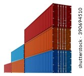 cargo containers  stacked. 3d ... | Shutterstock . vector #390694510
