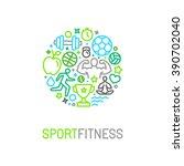 vector linear sport and fitness ... | Shutterstock .eps vector #390702040