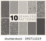 set of ten vector seamless... | Shutterstock .eps vector #390711019