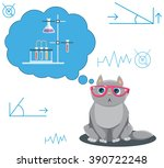 Smart Cat. Science Cat. Flask ...