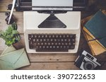 retro objects on wooden table   Shutterstock . vector #390722653
