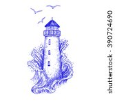 lighthouse in the storm vector...   Shutterstock .eps vector #390724690