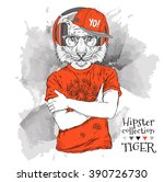 illustration of tiger hipster... | Shutterstock .eps vector #390726730