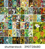 Mega set of vertical cards with floral design elements and cute wild birds. Vector cover background.
