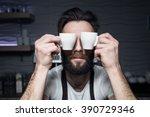 bartender keeps cups of coffee... | Shutterstock . vector #390729346