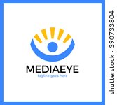 media eye people logo. sun man... | Shutterstock .eps vector #390733804
