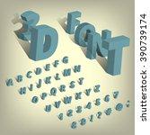 isometric font alphabet set. 3d ... | Shutterstock .eps vector #390739174