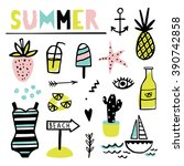 summer set with pineapple ... | Shutterstock .eps vector #390742858
