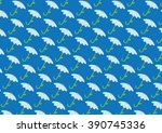 chamomile and umbrella pattern... | Shutterstock .eps vector #390745336