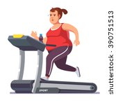 obese young woman running on... | Shutterstock .eps vector #390751513
