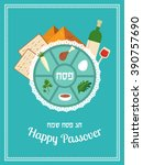 passover seder  plate with flat ... | Shutterstock .eps vector #390757690