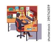 corporate worker clerk doing... | Shutterstock .eps vector #390762859