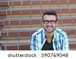 Small photo of Portrait of handsome 30-year-old man with glasses or bifocals
