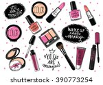 hand drawn cosmetics set. nail...