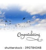 graduation mortars in the sky... | Shutterstock . vector #390784348