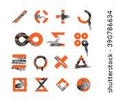 collection of orange watercolor ... | Shutterstock .eps vector #390786634