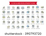 43 seo and web development thin ... | Shutterstock .eps vector #390793720