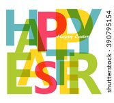 happy easter typography with... | Shutterstock .eps vector #390795154