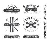 vintage snowboarding or winter... | Shutterstock . vector #390800713