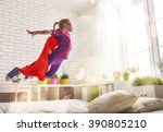 child girl in superhero's... | Shutterstock . vector #390805210