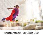 child girl in superhero's... | Shutterstock . vector #390805210