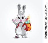 easter bunny carry colorful... | Shutterstock .eps vector #390816094