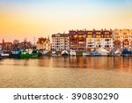 marina at motlawa river at... | Shutterstock . vector #390830290