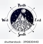 hand drawn mountain wind rose... | Shutterstock .eps vector #390830440