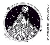hand drawn mountain and the... | Shutterstock .eps vector #390830470