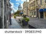 old Montreal early morning summer cobbled streets