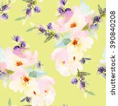 seamless pattern with flowers... | Shutterstock . vector #390840208