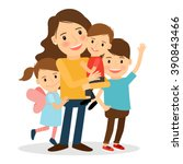mother with kids. happy family... | Shutterstock .eps vector #390843466