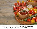 tomato sauce with spices on a... | Shutterstock . vector #390847570