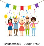 happy young people on the party ... | Shutterstock .eps vector #390847750