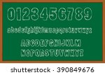 chalk board hand drawn alphabet  | Shutterstock .eps vector #390849676