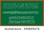 chalk board hand drawn alphabet  | Shutterstock .eps vector #390849676