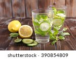 water detox with cucumber and... | Shutterstock . vector #390854809