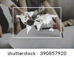 world map globalization... | Shutterstock . vector #390857920