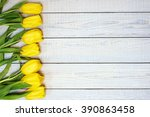 Fresh Yellow Tulips On Wooden...