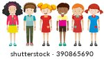 boys and girls standing... | Shutterstock .eps vector #390865690