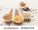 different kinds of bean seeds ... | Shutterstock . vector #390865918