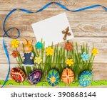 blank  greeting easter card...   Shutterstock . vector #390868144