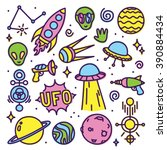 hand drawn cartoon alien space... | Shutterstock .eps vector #390884434