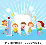 children and clean tooth... | Shutterstock .eps vector #390890158