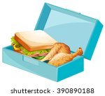 lunch box with sandwiches and... | Shutterstock .eps vector #390890188