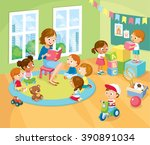 children's activity in the... | Shutterstock .eps vector #390891034