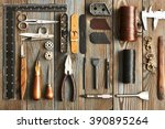 leather crafting diy tools flat ... | Shutterstock . vector #390895264