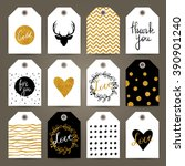 set of gift tags with hand... | Shutterstock .eps vector #390901240